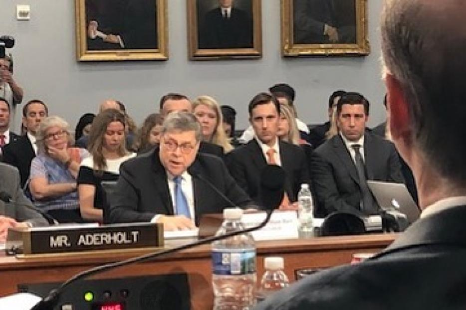Attorney General William Barr testifying before the House Appropriations subcommittee regarding the 2020 fiscal budget for the Justice Department.