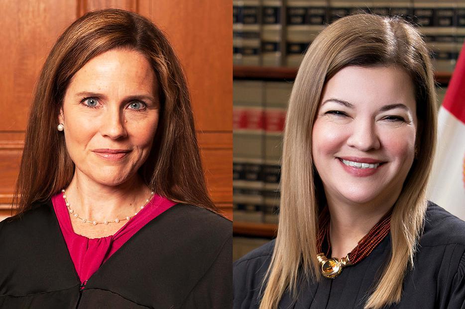 Seventh Circuit Judge Amy Coney Barrett (L) and 11th Circuit Judge Barbara Lagoa (R)