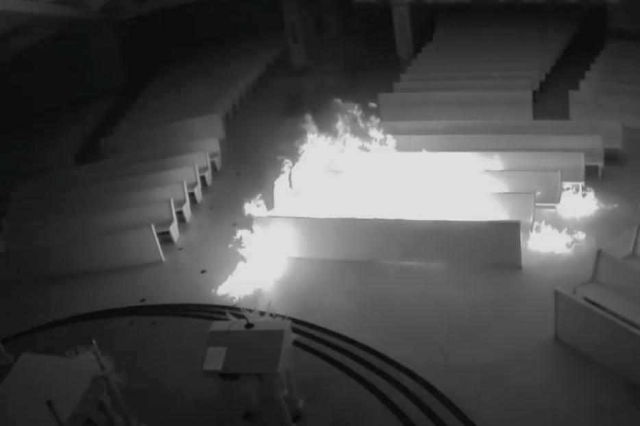 Arson at Incarnation Catholic Church in Town 'n' Country, Fla., Sept. 18, 2020.