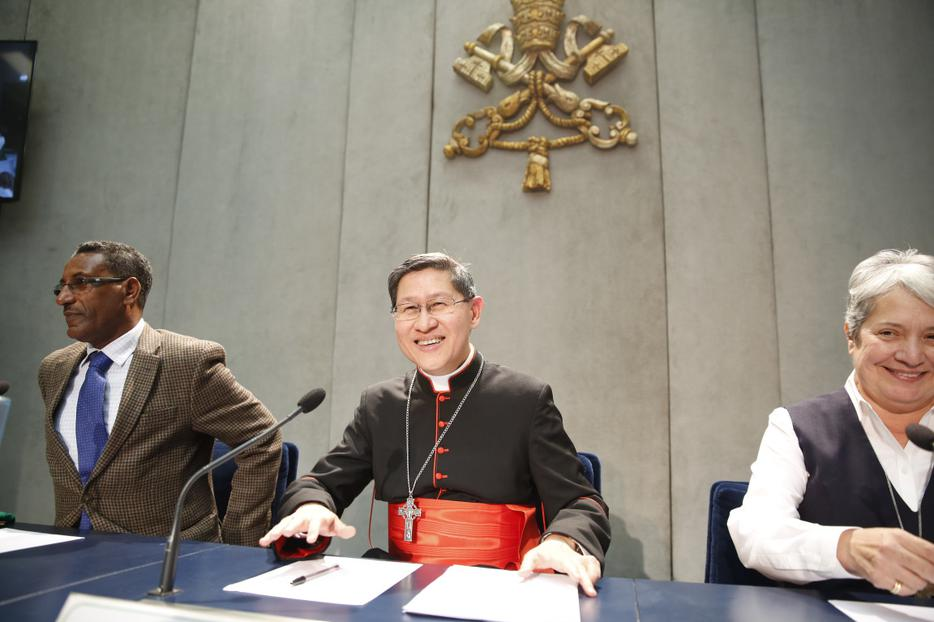 Cardinal Luis Tagle at a press conference on Share the Journey, a Caritas International initiative to promote migrant and refugee relationships in communities, at the Holy See Press Office on September 27, 2017.