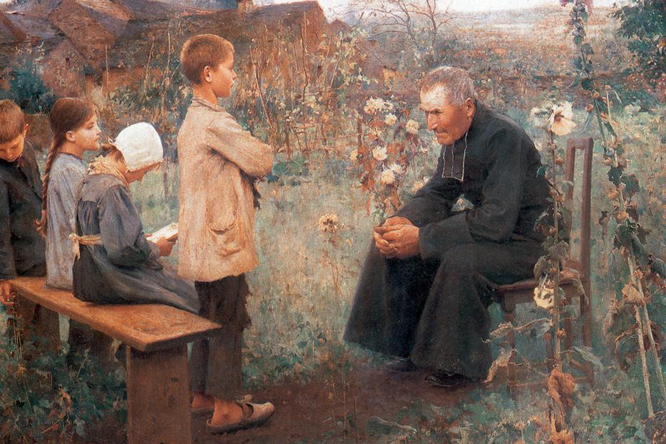 """Jules-Alexis Muenier [1863-1942], """"The Catechism Lesson"""""""