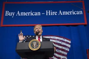 President Donald Trump speaks after touring Snap-On Tools in Kenosha, Wisconsin, April 18, 2017, prior to signing the Buy American, Hire American Executive Order.