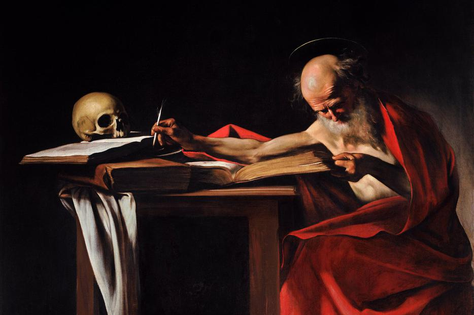 Benedict XV's encyclical celebrates the 1,500th anniversary of the death of St. Jerome, who first translated the Bible into Latin, as shown in this Caravaggio painting.