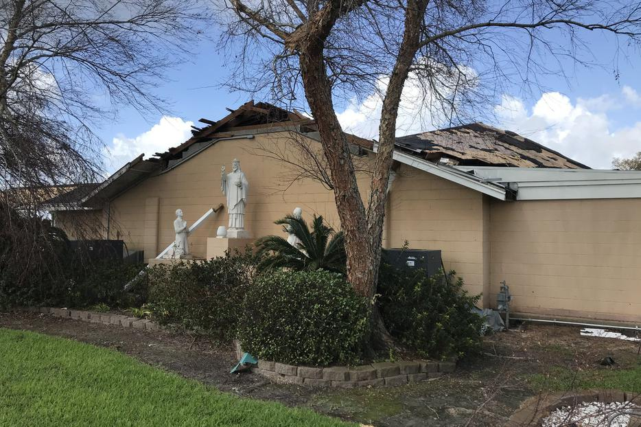 Christ the King parish in Lake Charles, Louisiana, suffered extensive damage, reported Father Rojo Koonathan, the pastor.