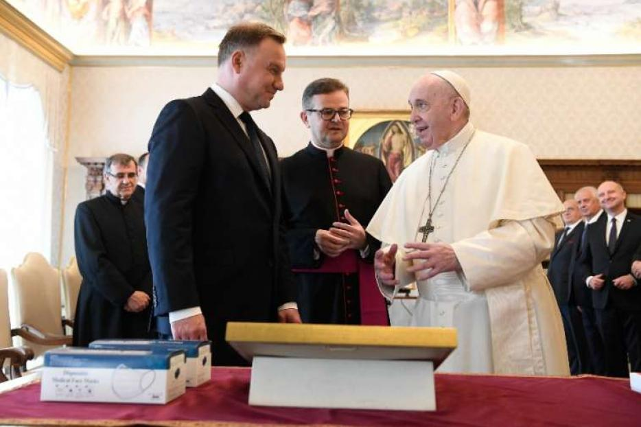 Polish President Andrzej Duda meets with Pope Francis at the Vatican Sept. 25, 2020.