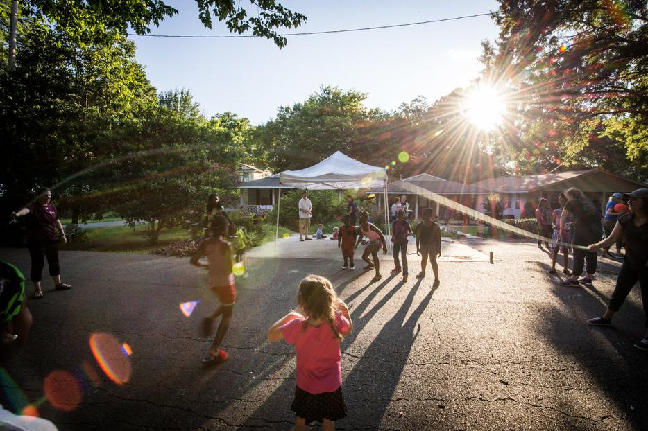 Children play at People of Praise  neighborhood picnic in Shreveport, LA.