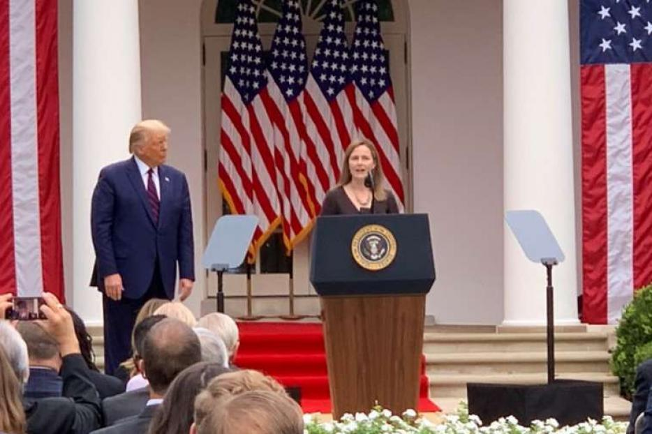 Amy Coney Barrett speaks as she accepts President Trump's nomination to the Supreme Court on September 26, 2020.
