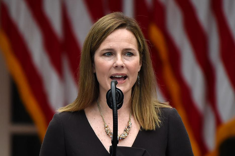 Judge Amy Coney Barrett speaks as she is nominated to the US Supreme Court by President Donald Trump in the Rose Garden of the White House in Washington, DC on September 26, 2020.