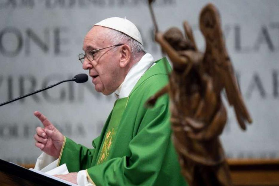Pope Francis preaches at a Mass for the Vatican Gendarmerie Sept. 26, 2020.