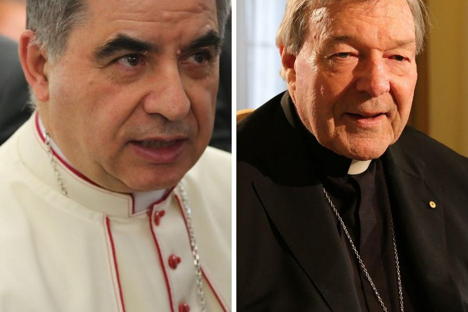 L to R: Cardinal Angelo Becciu thwarted the Vatican financial reforms started by Cardinal George Pell.