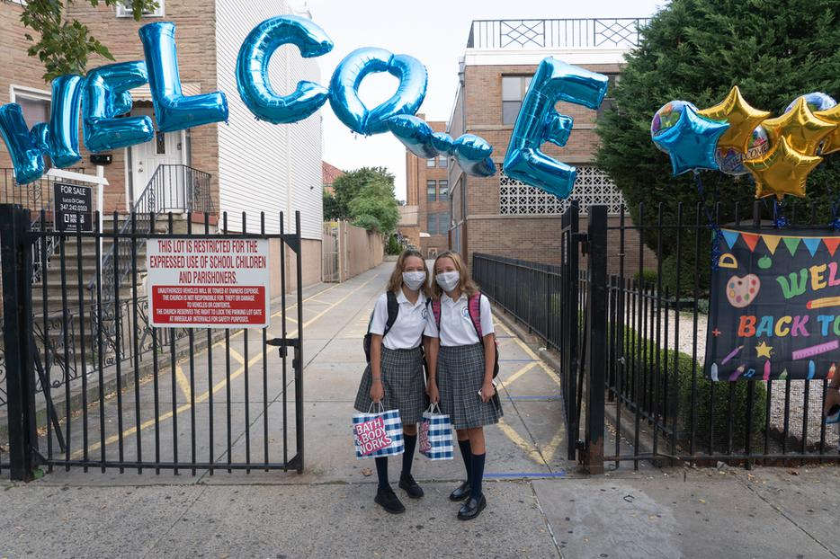 Students attend first day of in-person learning at Catholic schools in the Archdiocese of New York at Immaculate Conception Catholic Academy on September 9, 2020.