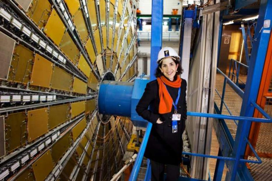 Fabiola Gianotti at the Large Hadron Collider, the world's largest particle accelerator, beneath the France-Switzerland border.