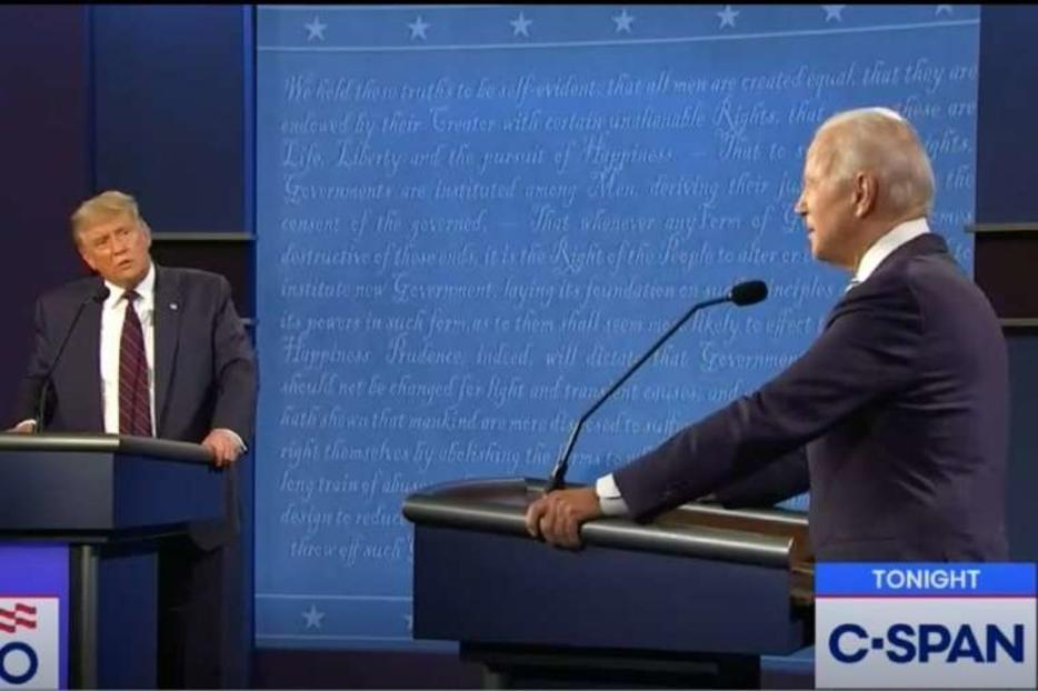 President Donald Trump alongside Joe Biden during the first presidential debate on September 29, 2020.
