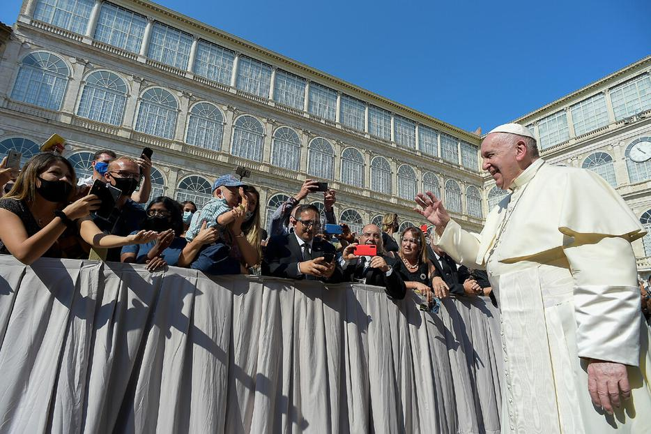Pope Francis greeted pilgrims during the Wednesday general audience inside the San Damaso Courtyard of the Vatican Apostolic Palace on Sept. 16, 2020.
