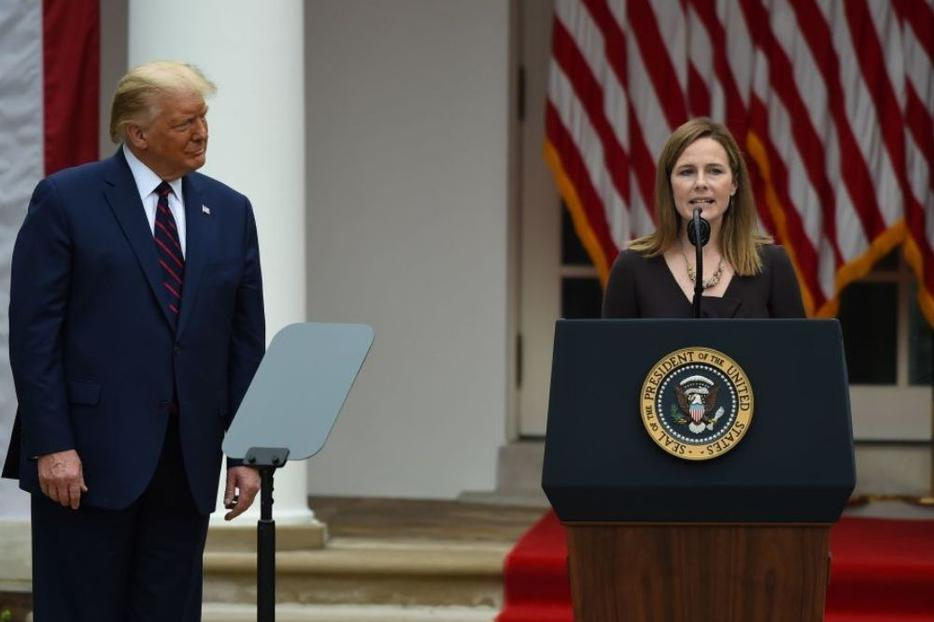 Judge Amy Coney Barrett speaks after being nominated to the U.S. Supreme Court by President Donald Trump in the Rose Garden of the White House in Washington, D.C., on Sept. 26. Barrett, if confirmed by the U.S. Senate, will replace Justice Ruth Bader Ginsburg, who died on Sept. 18.