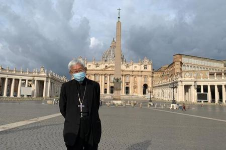 Cardinal Joseph Zen in St. Peter's Square in an undated file photo.