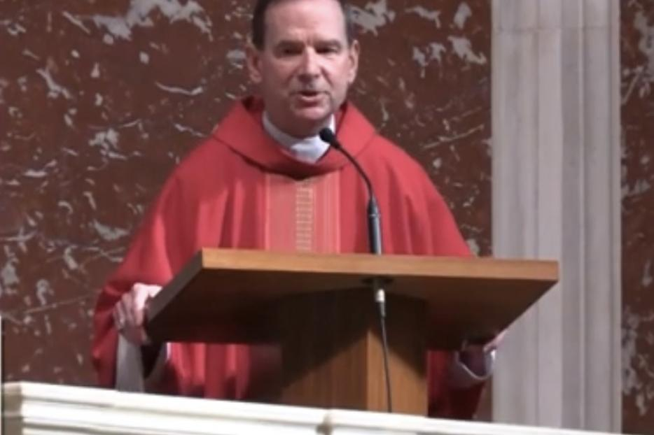 Bishop Michael Burbidge offers his homily during the Red Mass at St. Matthew's Cathedral in Washington, D.C. on October 4, 2020.