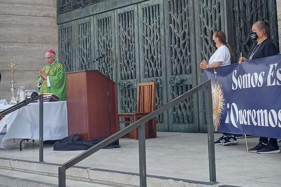 Archbishop Salvatore Cordileone celebrates outdoor Mass at St. Mary's Cathedral in San Francisco amid the coronavirus restrictions placed on the city, September 20, 2020.