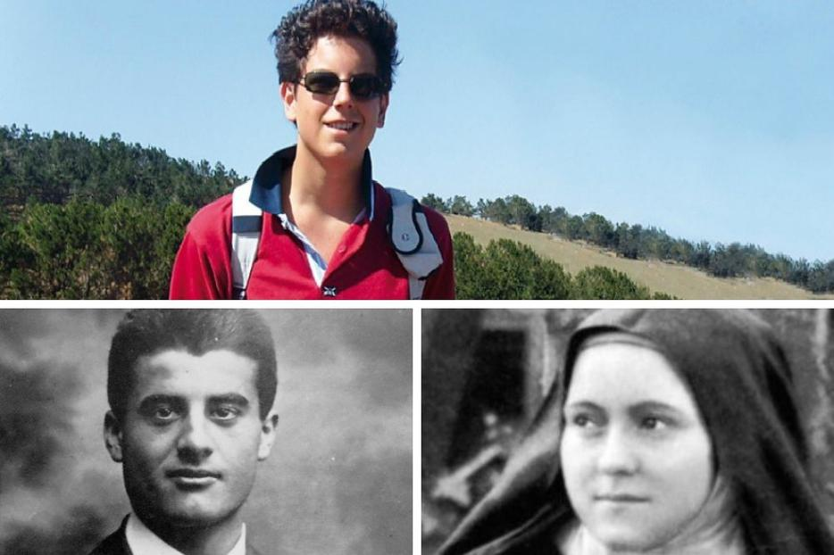 Clockwise from top: Carlo Acutis, Thérèse of Lisieux and Pier Giorgio Frassati all lived holy lives as young people.