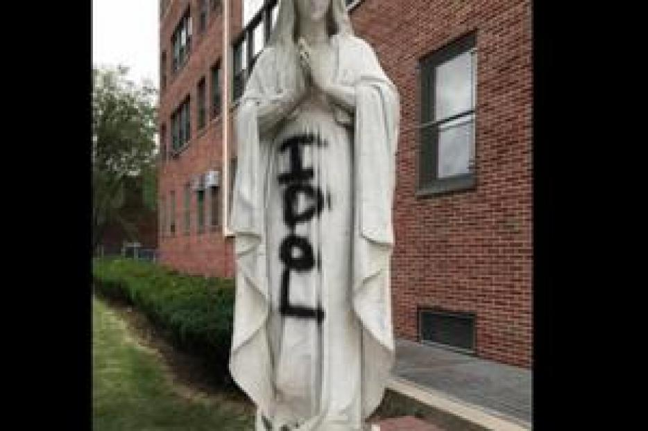 Statue of Mary outside Cathedral Prep School and Seminary, Queens, New York.