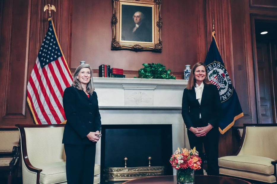 Supreme Court nominee Judge Amy Coney Barrett meets with Senator Joni Ernst of Iowa on October 1, 2020 on Capitol Hill.