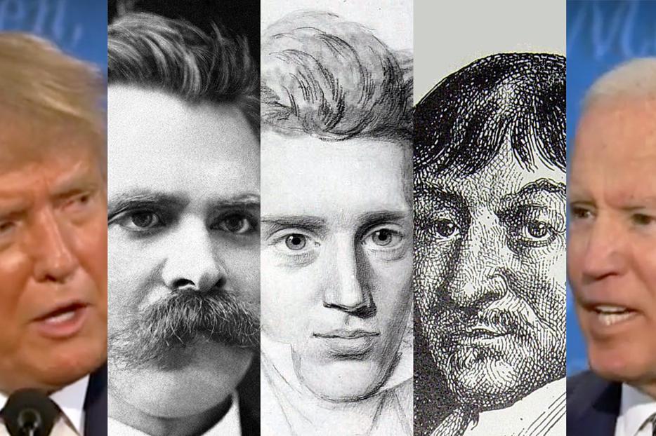 From Left to Right: (1) President Donald Trump; (2) Friedrich Nietzsche, expositor of nihilism; (3) existentialist philosopher Søren Kierkegaard; (4) rationalistic philosopher René Descartes; (5) former Vice President Joe Biden.