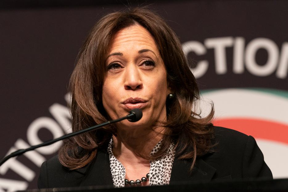 Democratic Vice Presidential candidate Senator Kamala Harris speaks during National Action Network 2019 convention at Sheraton Times Square.