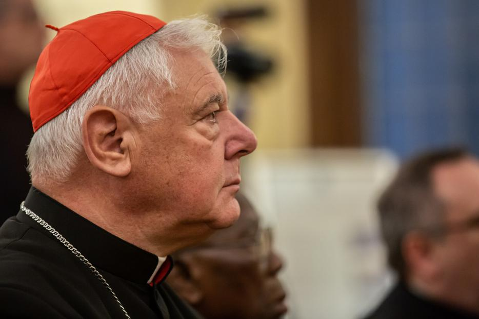 "Cardinal Gerhard Müller listens in the audience during the presentation of the new book ""Christvs Vincit,"" by Bishop Athanasius Schneider, in Rome on Oct. 14, 2019."