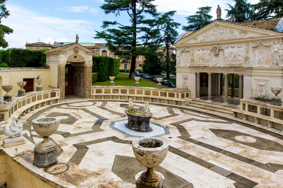 View of Villa Pia (Casina Pio IV) which is now home to Pontifical Academy of Sciences from Vatican Gardens in Rome Italy.