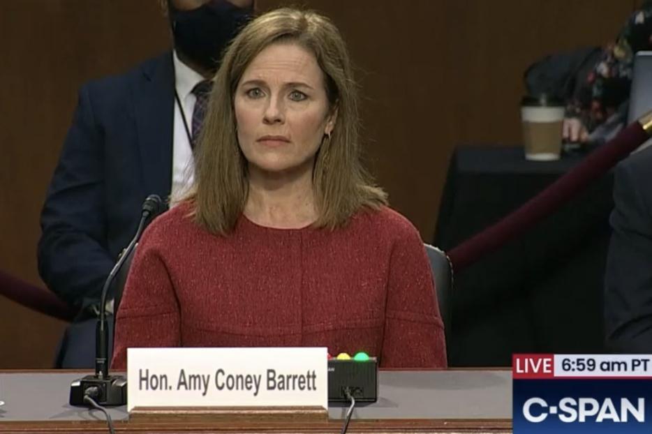 Judge Amy Coney Barrett before the Senate Judiciary Committee on October 13, 2020.