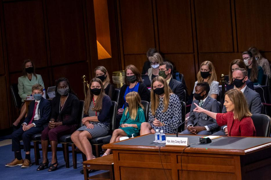 Supreme Court Justice nominee Judge Amy Coney Barrett introduces her family on the second day of her Supreme Court confirmation hearing before the Senate Judiciary Committee on Capitol Hill on October 13, 2020 in Washington, DC.