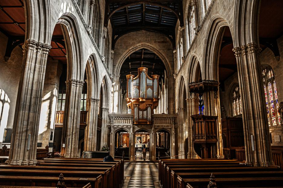 Interior shot of University Church of St Mary the Virgin on the campus of Oxford University.