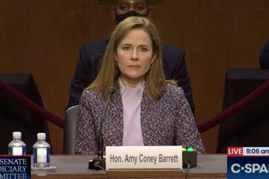 Judge Amy Coney Barrett before the Senate Judiciary Committee, Oct. 14, 2020.