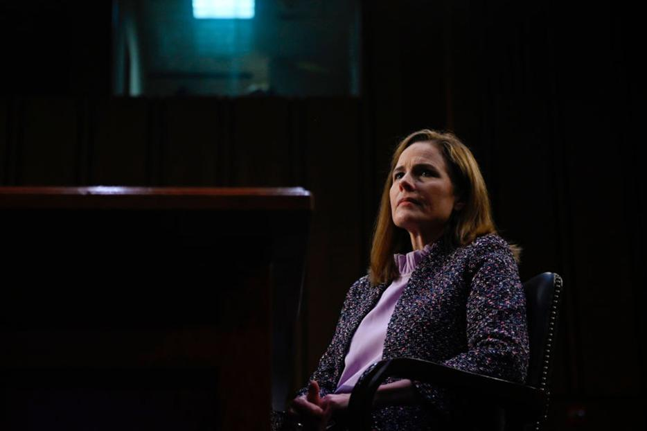 Supreme Court nominee Judge Amy Coney Barrett testifies before the Senate Judiciary Committee on the third day of her confirmation hearing on Capitol Hill on Oct. 14, 2020 in Washington, DC. Barrett was nominated by President Donald Trump to fill the vacancy left by Justice Ruth Bader Ginsburg who passed away in September.