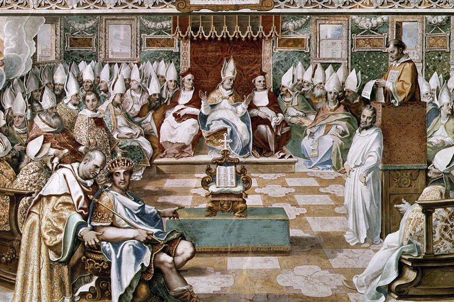 """Opening of the Council of Nicaea (325) by Emperor Constantine the Great,"" c. 1560"