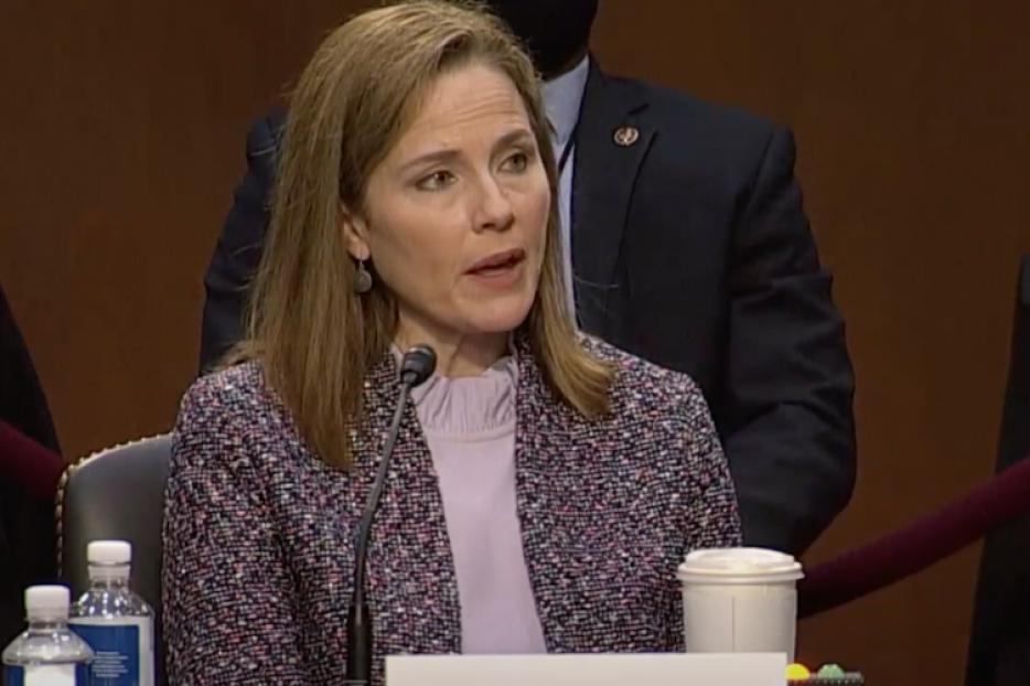 Amy Coney Barrett answers questions on Day 3 of Senate confirmation hearings, October 14, 2020.