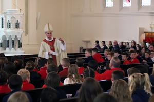Bishop Thomas Daly speaking with students gathered for the 2019 Respect Life Mass.