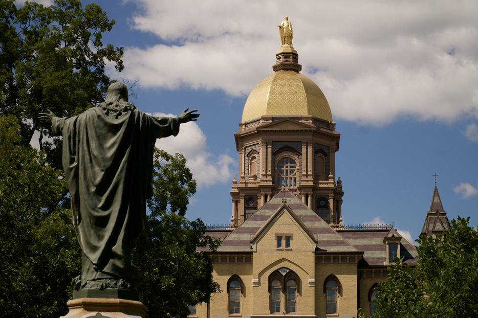 The Golden Dome atop the MaIn Building at the University of Notre Dame.