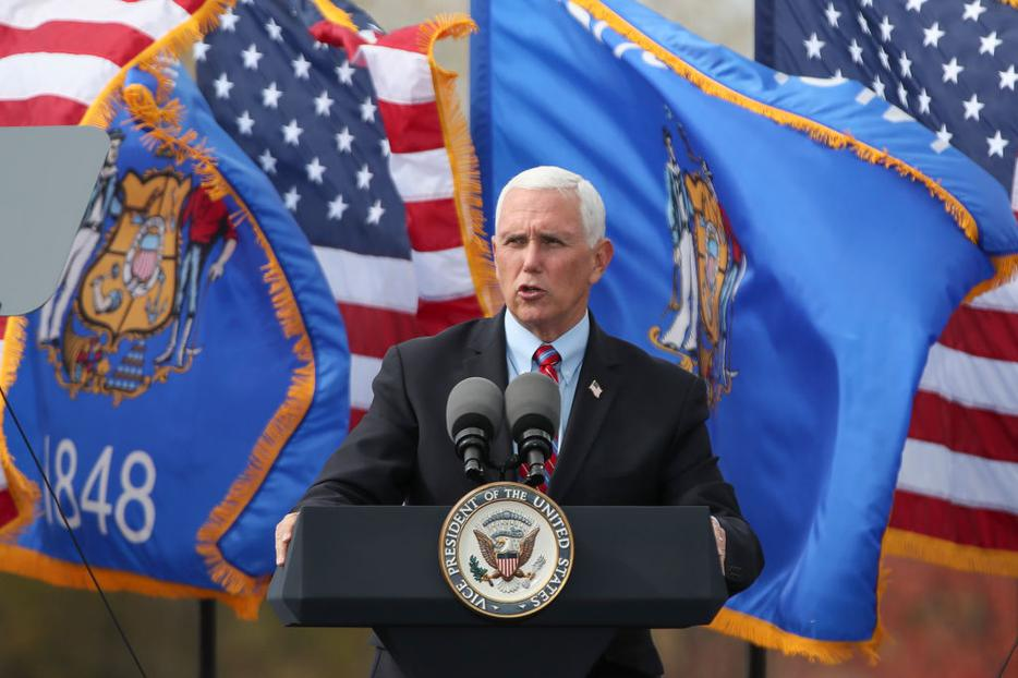 Vice President Mike Pence speaks on stage in Waukesha, Wisconsin, on October 13, 2020.