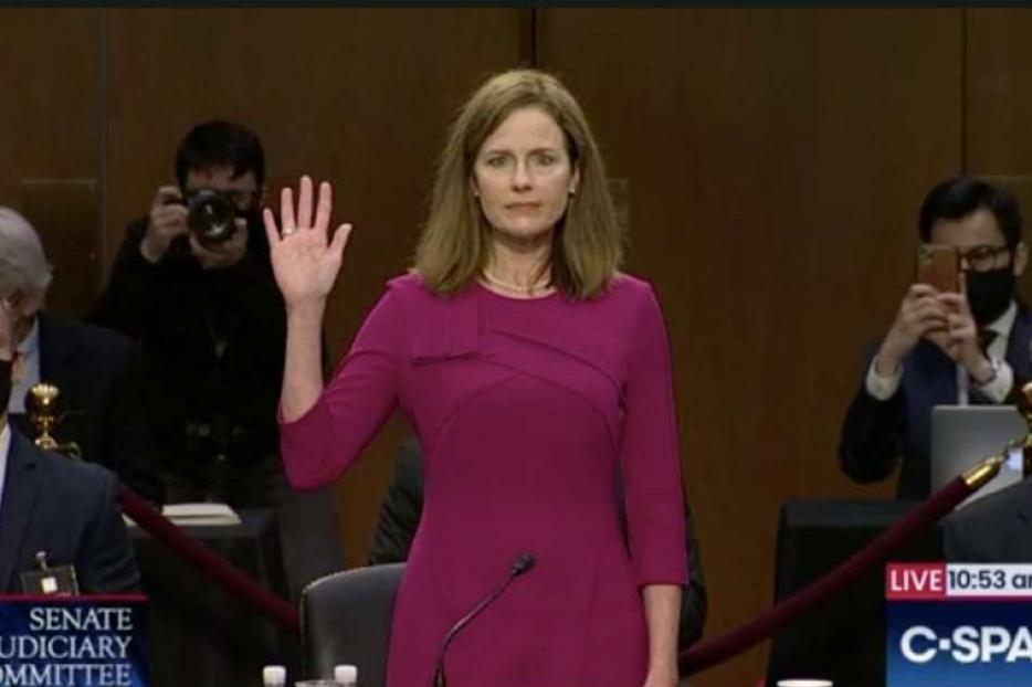 Judge Amy Coney Barrett before the Senate Judiciary Committee, Oct. 12, 2020.