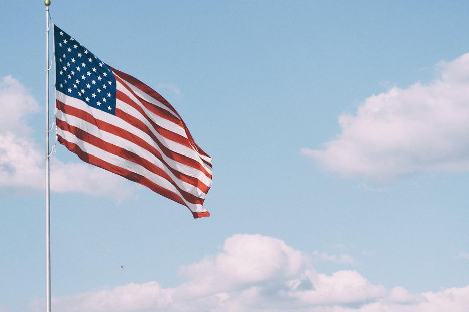 U.S. flag waves in the wind. Election Day 2020 draws near.
