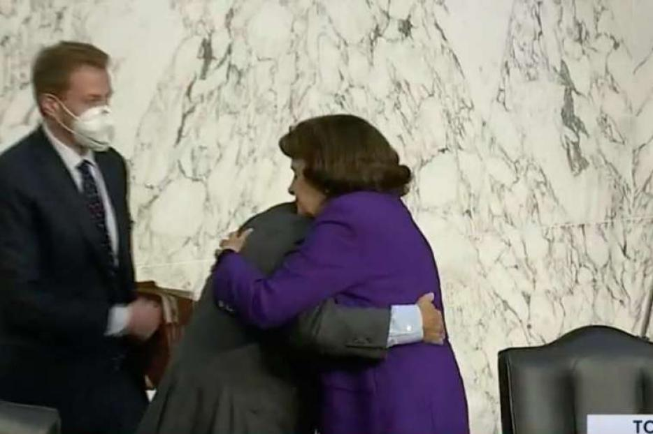 Sen. Dianne Feinstein and Sen. Lindsey Graham embrace after the hearings of the Senate Judiciary Committee, Oct. 15, 2020.