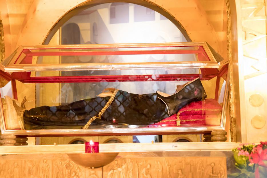 Saint Rita's tomb with her incorrupt body at the Basilica in Cascia.