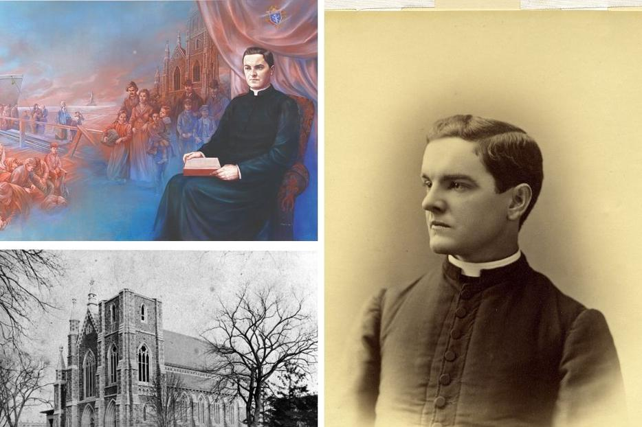 Clockwise from top left: Father Michael J. McGivney, shown the 'Founding Vision' by Antonella Cappuccio and in a portrait by John Tierney, aided Catholic families at St. Mary Church, shown in the 1880s, in New Haven, Connecticut. Father McGivney's tomb is housed in the church.