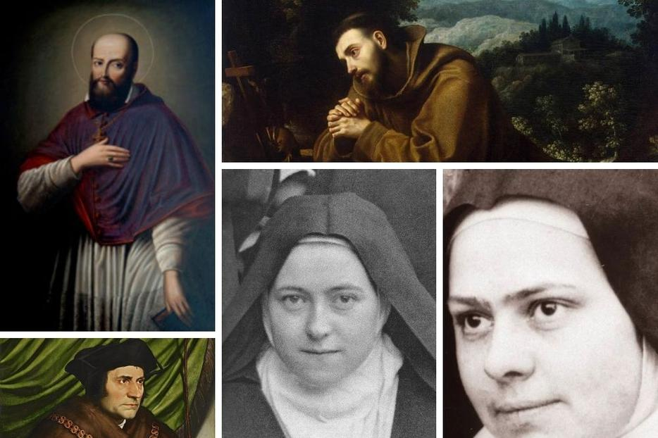 Clockwise from top left: Francis de Sales, Francis of Assisi, Elizabeth of the Trinity, Thérèse and Thomas More show what a life lived for God and others looks like.