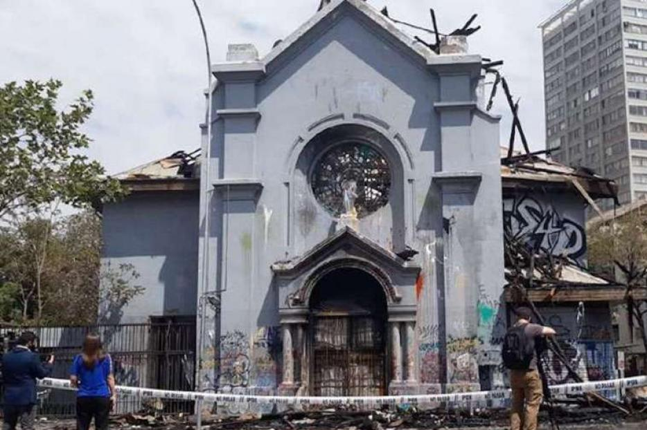 Church of the Assumption in Santiago, Chile, after an arson attack Oct. 18.