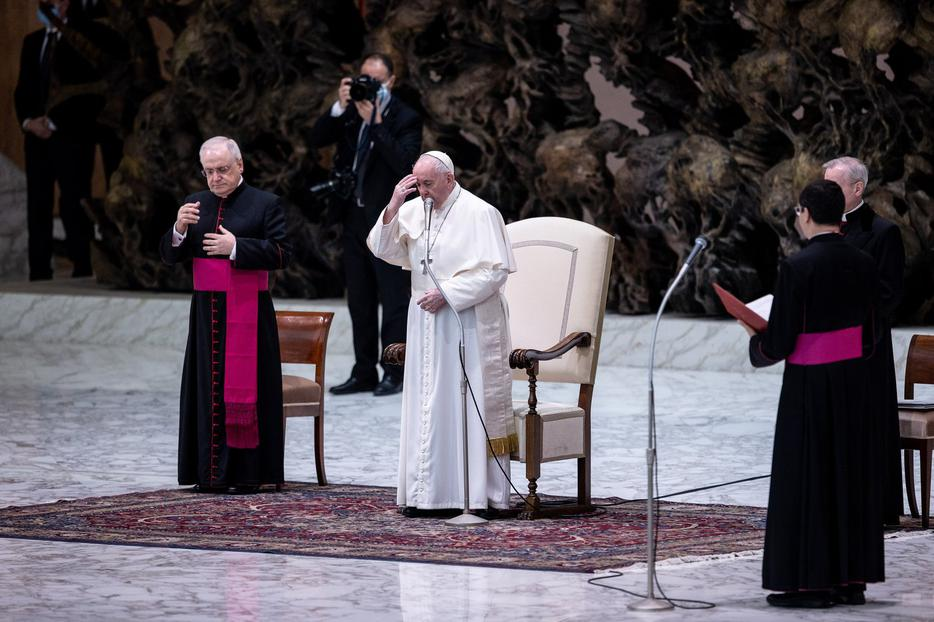 Pope Francis gives his general audience address in the Paul VI Audience Hall at the Vatican Oct. 21, 2020.