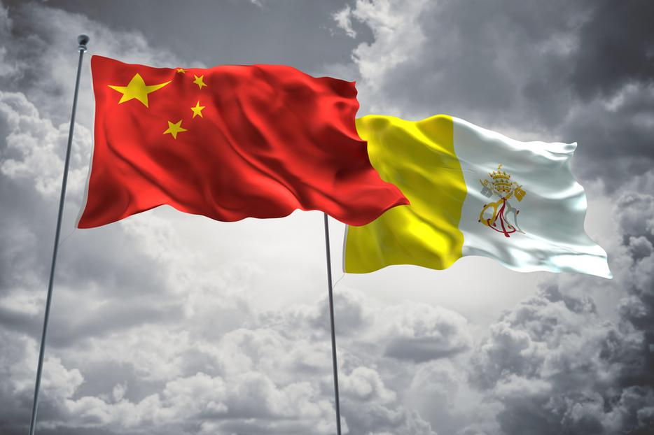 Flags of China and the Vatican.