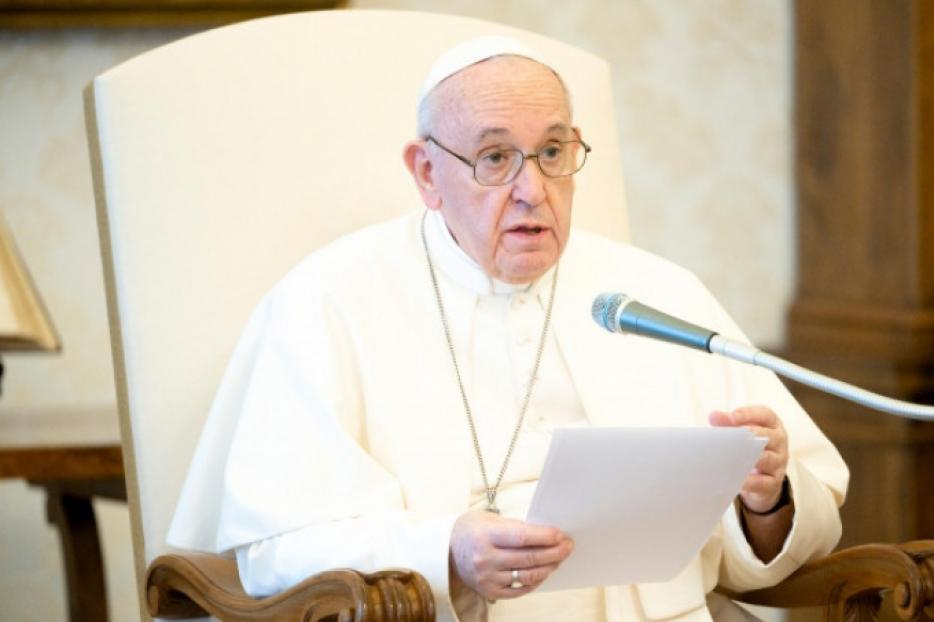 Pope Francis speaks during his weekly General Audience on June 22, 2020.