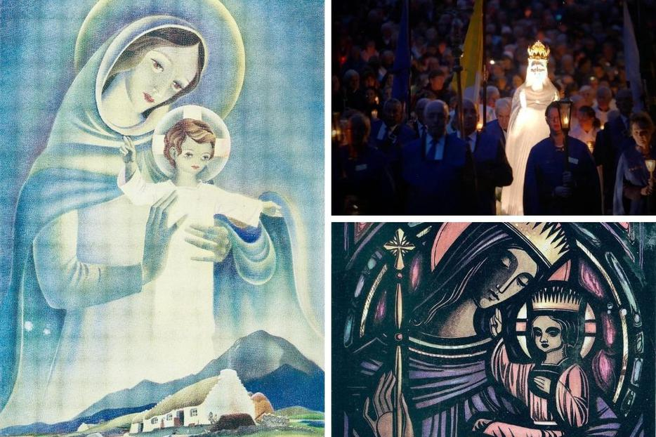 The Irish have long prayed the Rosary; Marian devotion is a time-honored Catholic tradition on the Emerald Isle, as depicted in 'Our Lady, Queen of Ireland' and 'Madonna and Child' images and celebrated at the shrine in Knock.